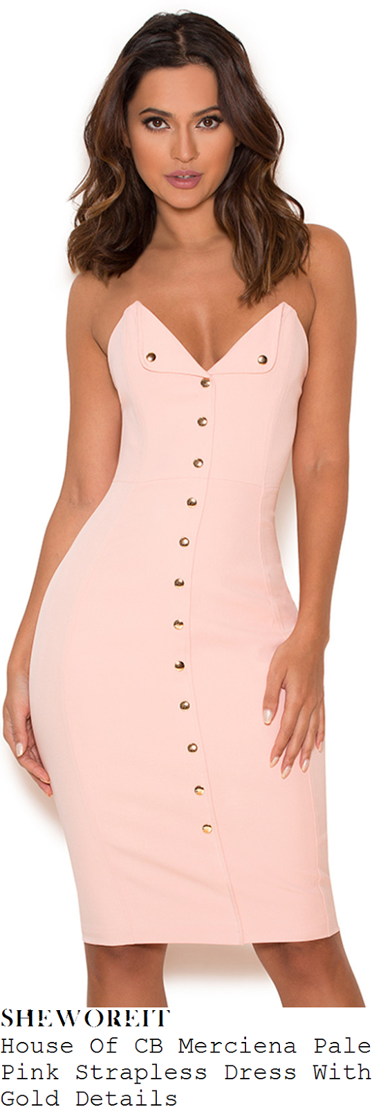 vicky-pattison-house-of-cb-merciena-pale-pink-and-gold-strapless-button-up-fold-bust-detail-bodycon-dress