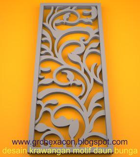 krawangan GRC floral motif sulur daun bunga