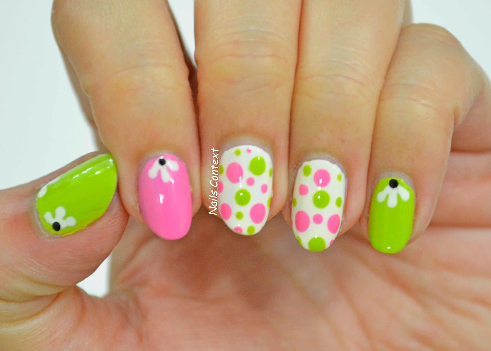 Nails context pink and green a cute nail art design with this combo light pink used here is essie lovie dovie light green is sinfulcolors innocent and white is formula xs dainty prinsesfo Image collections