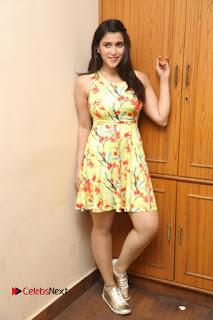 Actress Mannara Chopra Pictures in Floral Short Dress at Jakkanna Movie Interview  0180