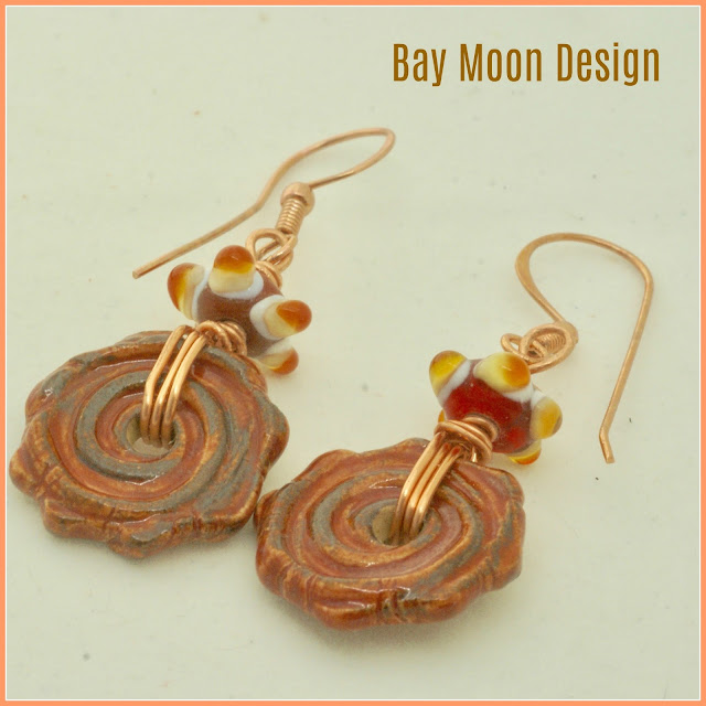 Burnt Orange Ceramic Earrings by BayMoonDesign