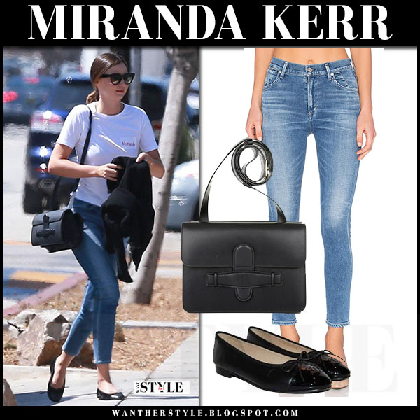 Miranda Kerr in white tee, skinny jeans citizens of humanity carlie and black ballet flats what she wore