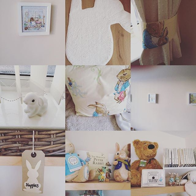 A grid of photos showing bunny themed room items, including peter rabbit books and cushion