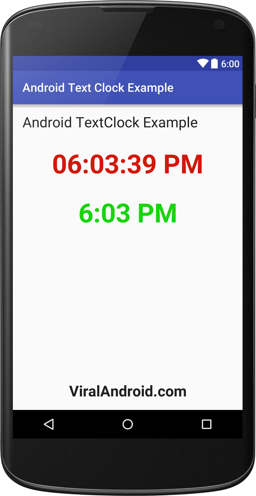 Display Current Time in Android using TextClock