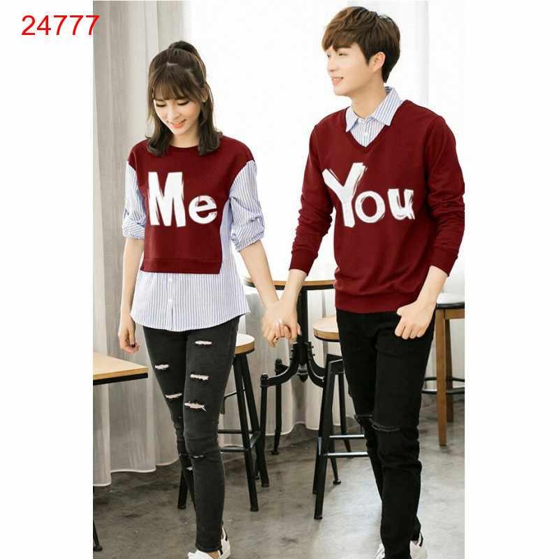 Jual Sweater Couple Sweater You Me Kombinasi Maroon - 24777
