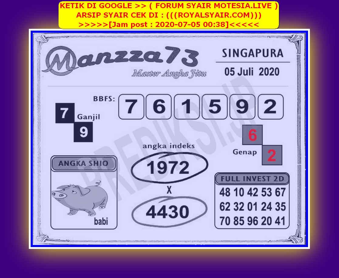 Kode syair Singapore Minggu 5 Juli 2020 217