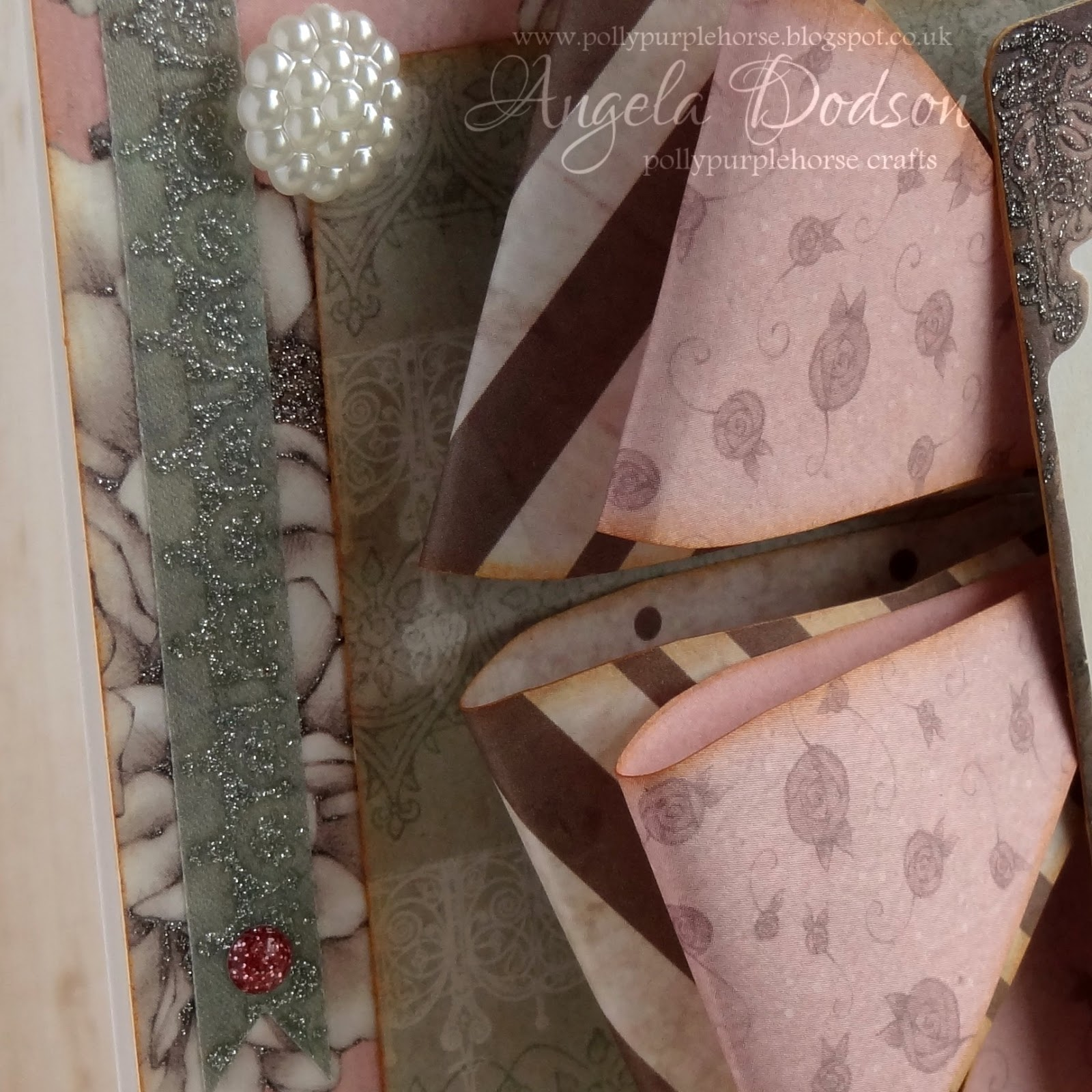 DOVECRAFT FLORAL MUSE Satin Ribbon Bows Pink and White Silver edged bows