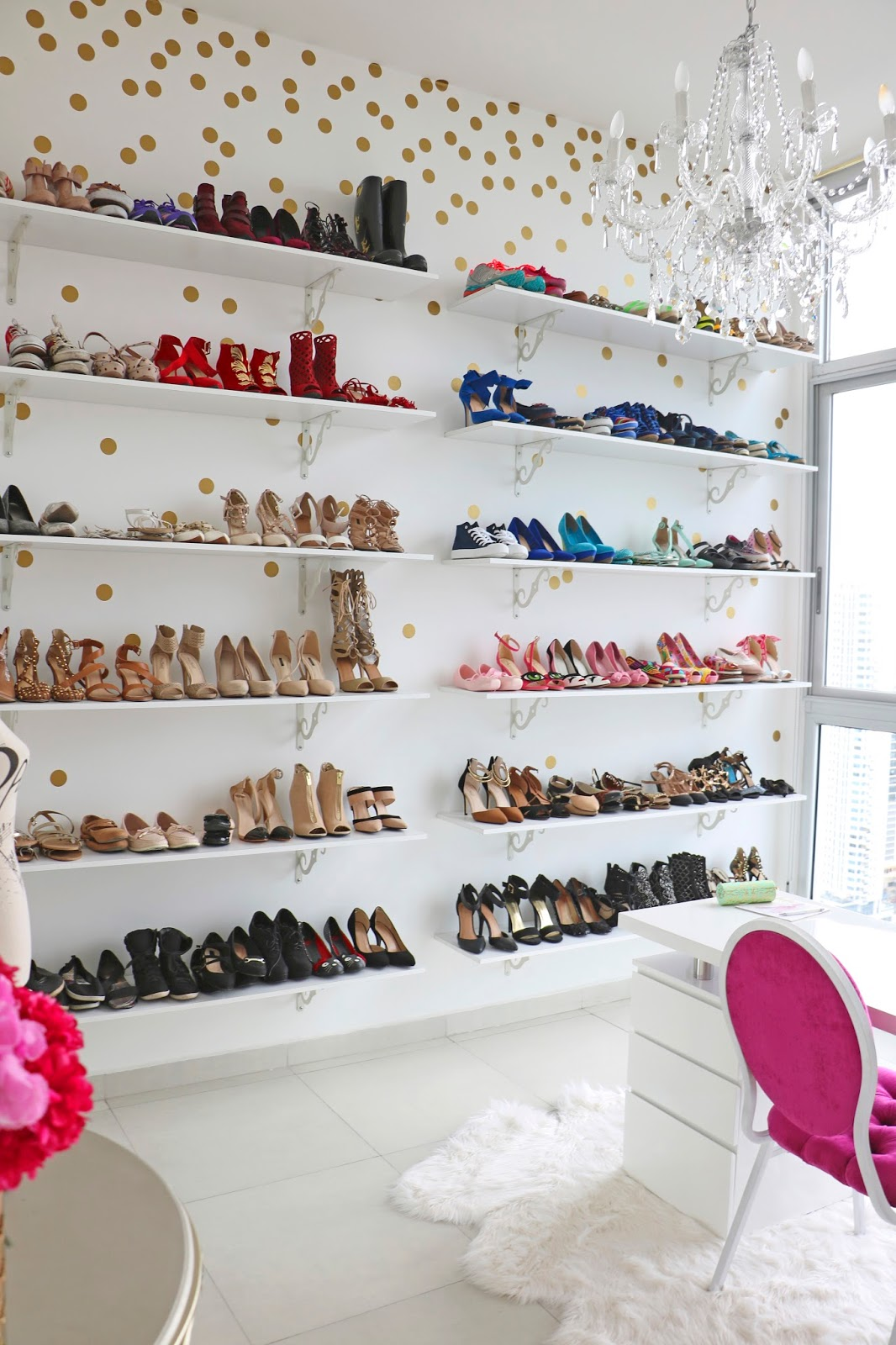 Display your shoes as art covering an entire wall!
