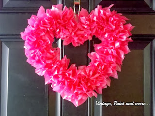 Tissue Paper Valentine Wreath