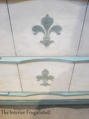 Stenciled Fleur-De-Lis on faux secretary desk