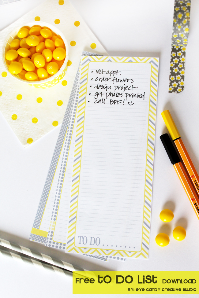 free download, yellow & gray to do list, free list, pens, gift idea, teacher gift