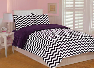 purple chevron bedding