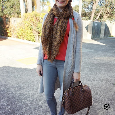 awayfromblue instagram grey cardigan skinny jeans leopard print scarf and red tee outfit