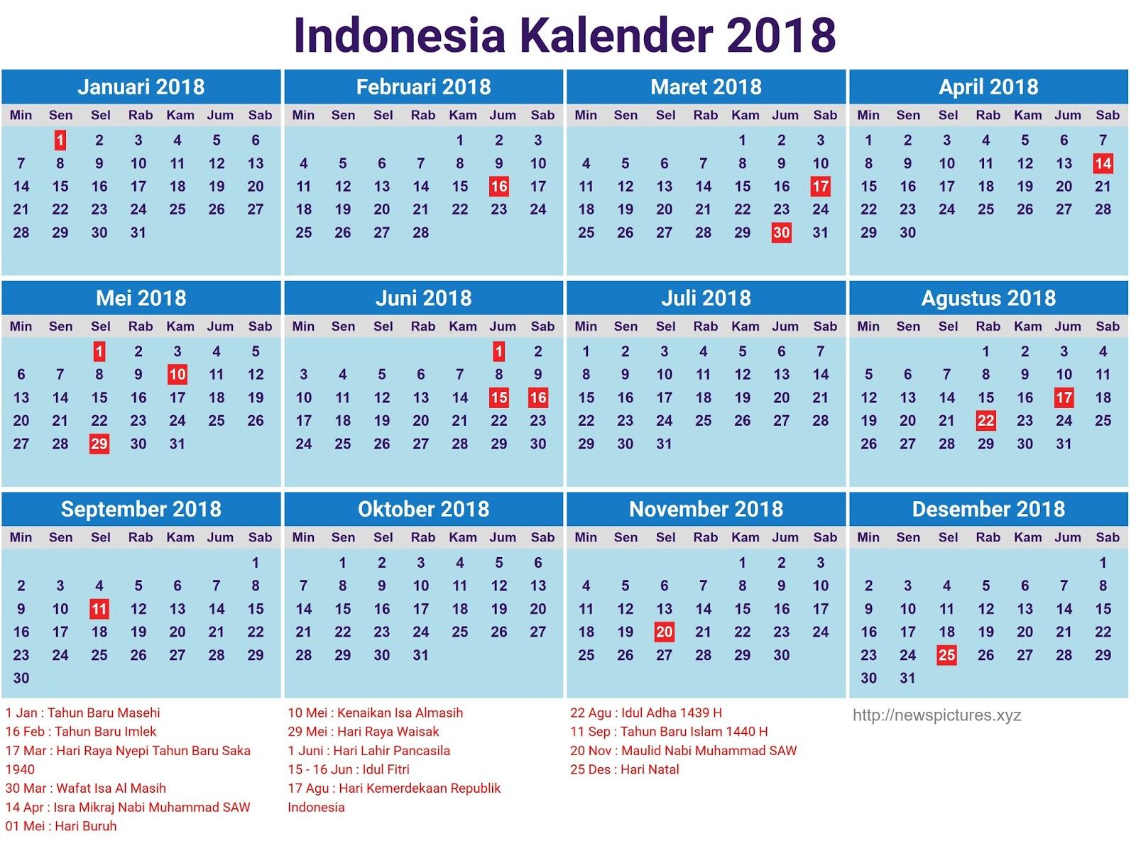 Kalender 2018 Beserta Hari Libur Nasional - beritauaja.com