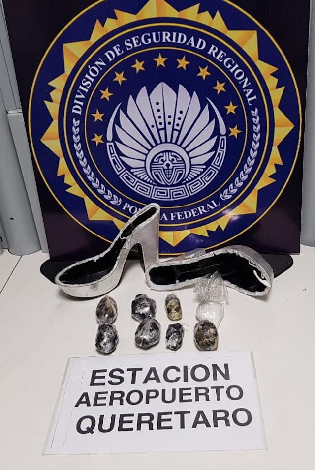 POLICÍA FEDERAL ASEGURA CRYSTAL OCULTO EN ZAPATILLAS EN EL AEROPUERTO DE QUERÉTARO
