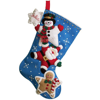Christmas Stars Felt Stocking