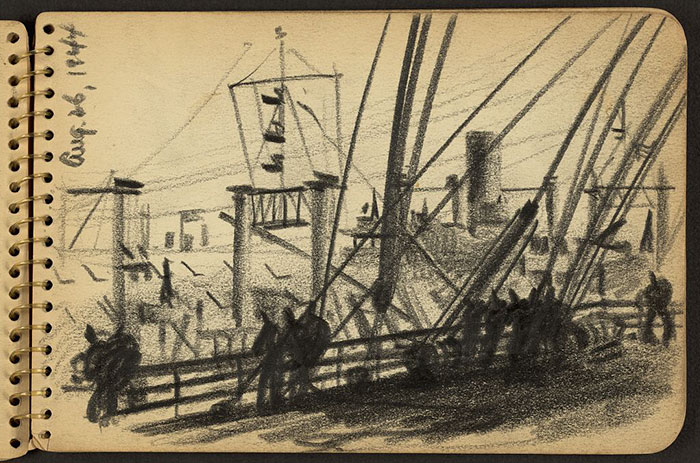 21-Year-Old WWII Soldier's Sketchbooks Show War Through The Eyes Of An Architect - Soldiers Standing At Railing Of Ship In New York Harbor