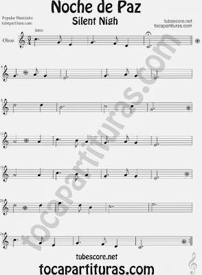 Partitura de NOCHE DE PAZ para Oboe Villancico Christmas Song SILENT NIGH Sheet Music for Oboe Music Scores
