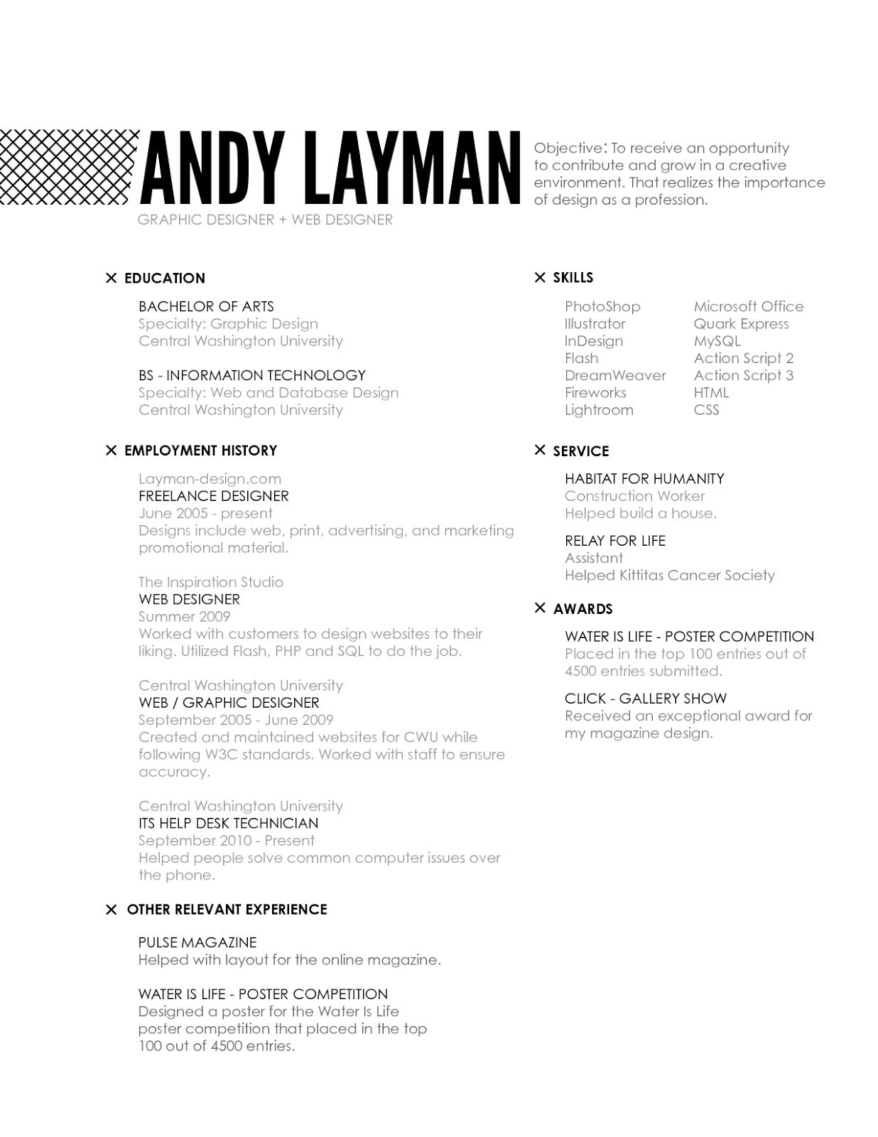 Interior design experience resume