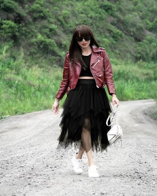 outfit hipster con falda de tul negra tumblr de moda
