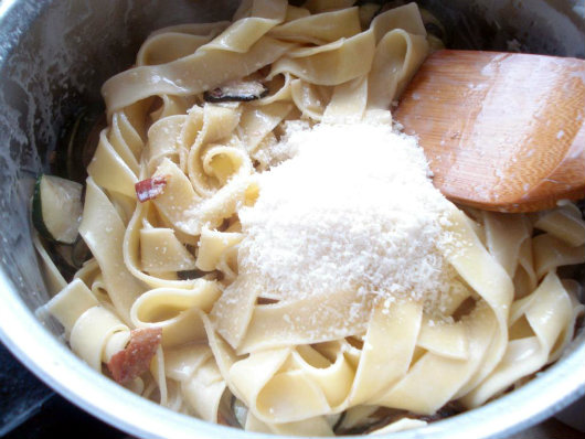 cream and Parmesan with pasta