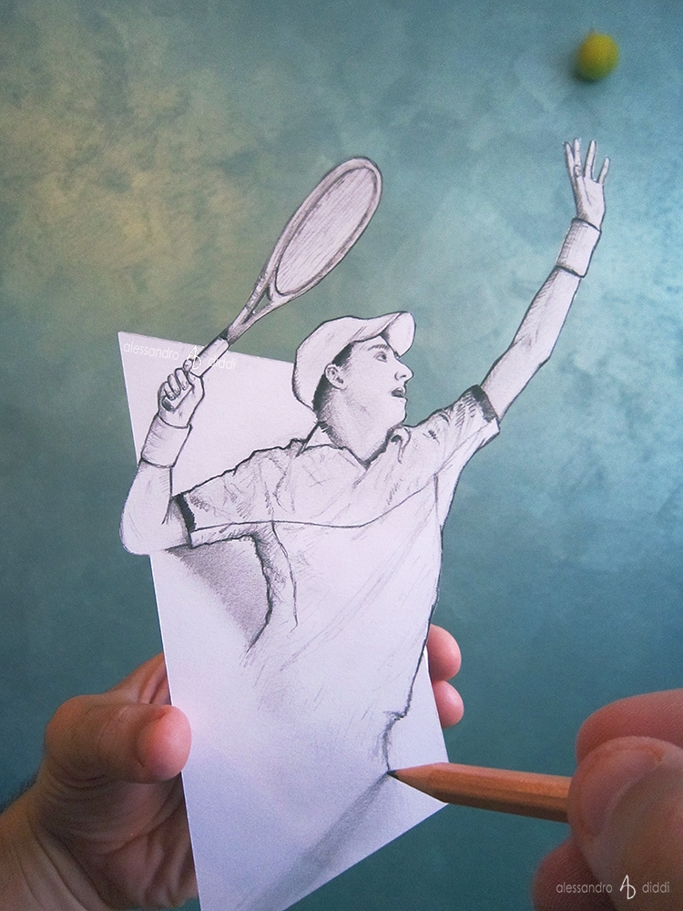 11-Tennis-Serve-Alessandro-Diddi-Anamorphic-Optical-Illusions-that-look-like-3D-Drawings-www-designstack-co