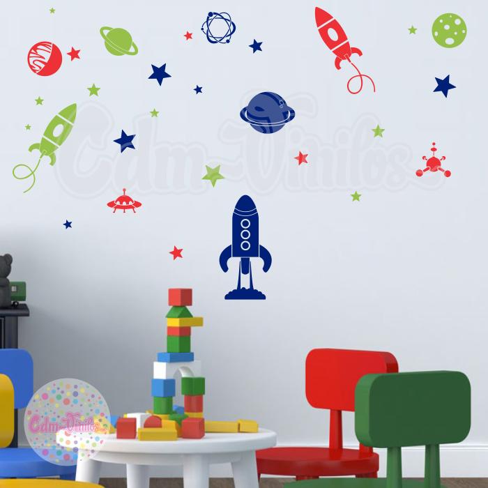 Vinilos Decorativos Planetas.Vinilo Decorativo Infantil Cohete Espacio Planetas Estrellas