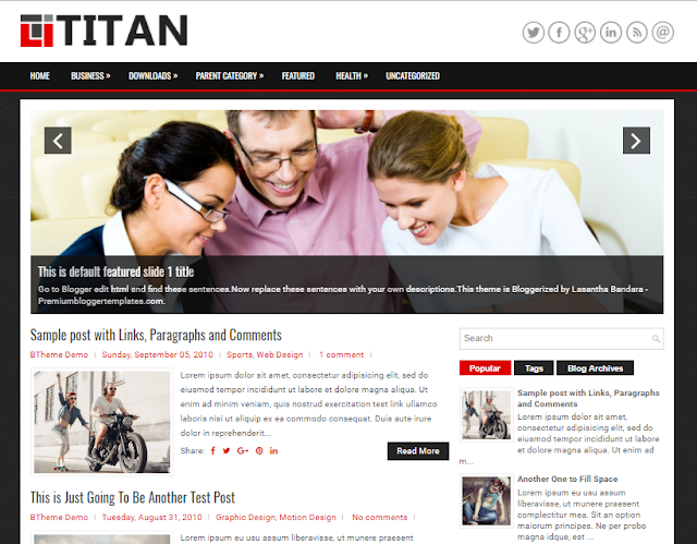 Free Blogger Template alongside a Right Sidebar in addition to  Free Download Titan