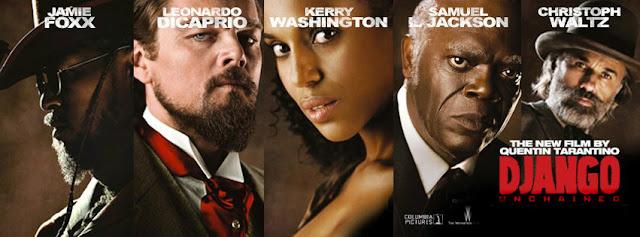 Christoph Waltz Jamie Foxx Leonardo DiCaprio Kerry Washington Samuel L Jackson in Django Unchained Directed by Quentin Tarantino