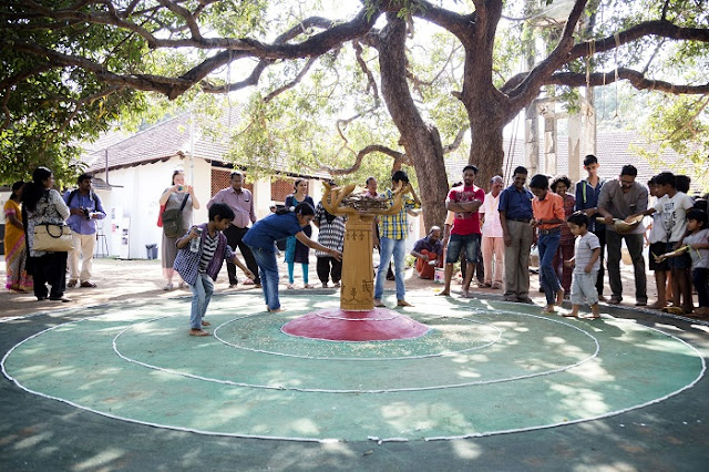 Children drawing  'Kalam' as part of ABC workshop at Aspinwall House,Fort Kochi