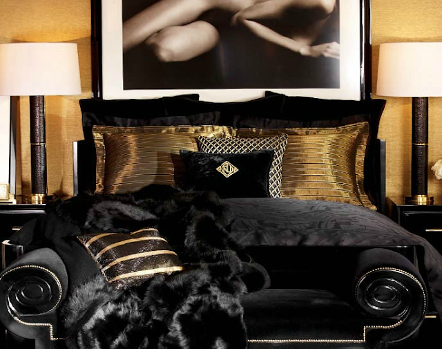 terrific black silver bedroom designs | INTERIOR DESIGN CHATTER : Go Luxurious with black & gold