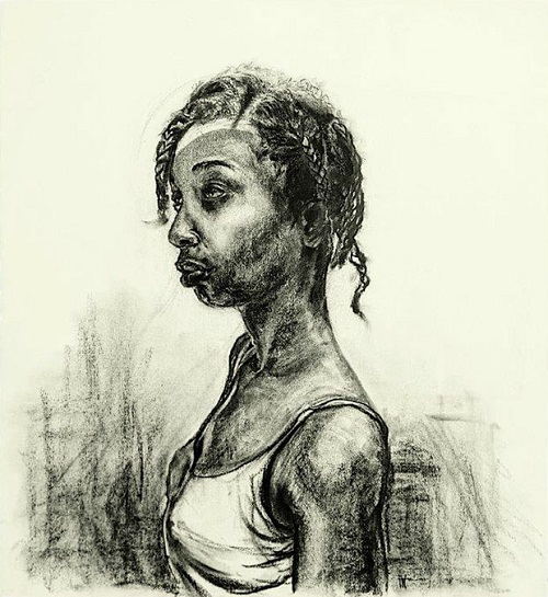 """Waiting in Transition II"" by Florence Wangui - 2018 - charcoal on paper 