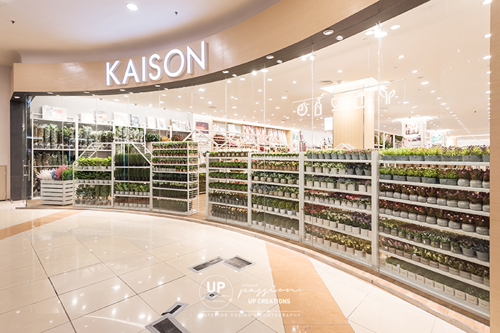 kaison aeon bukit tinggi shopfront with full glass window display and icon led neon strip