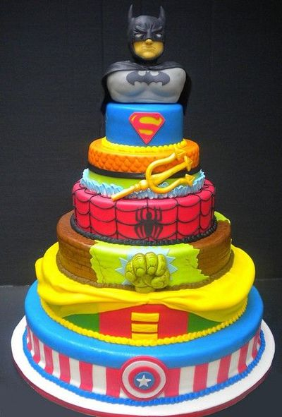 Super Hero Tiered Birthday Cake