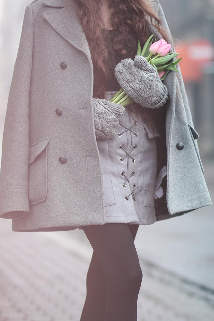 grey coat, gray skirt, gray hat, gloves, tulips, newchic. zara, H&M, velvet boots deezee