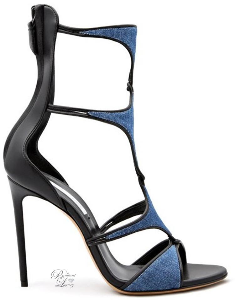 Brilliant Luxury ♦ Casadei Denim and Leather Sandal