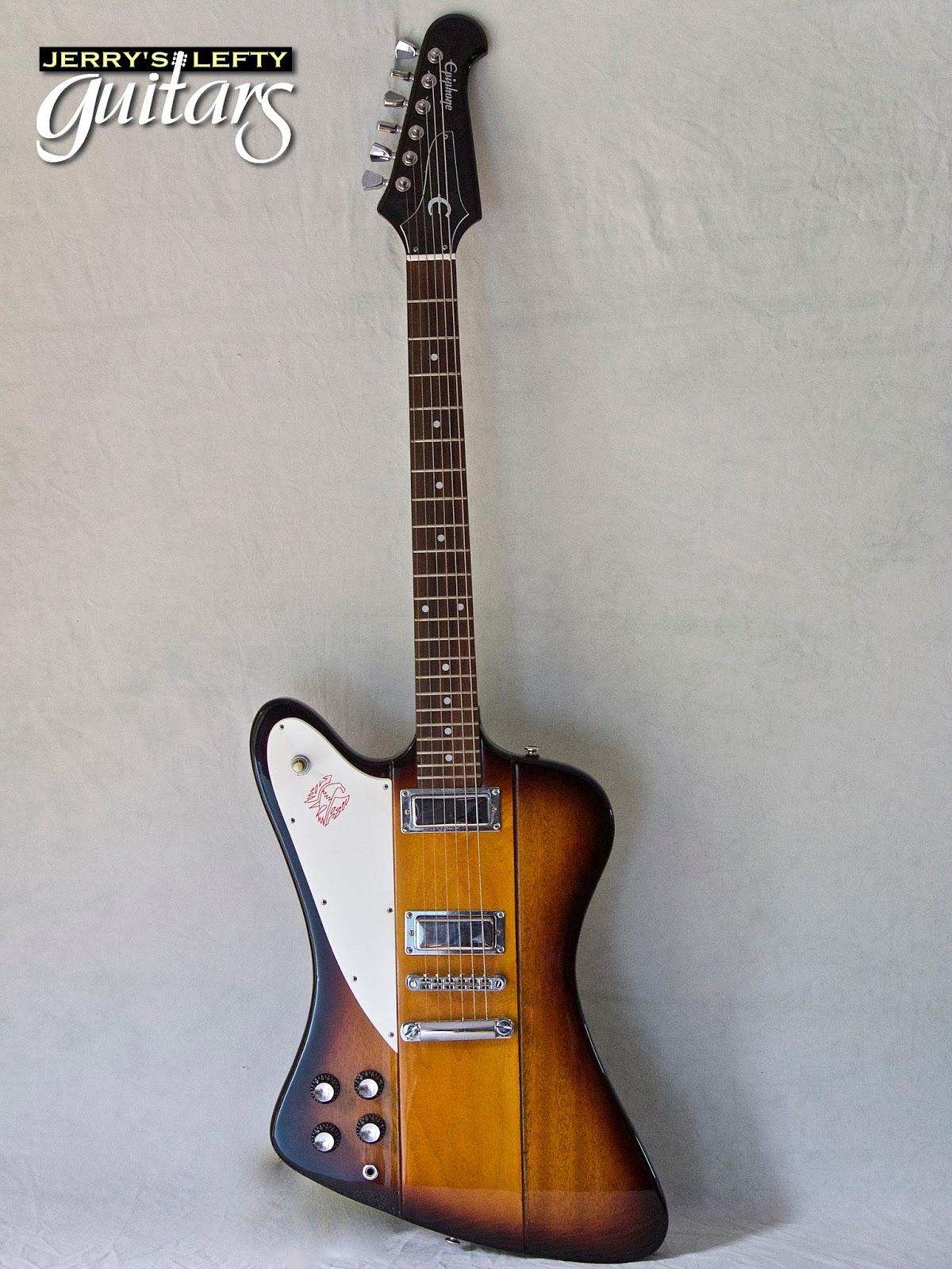 jerry 39 s lefty guitars newest guitar arrivals updated weekly epiphone firebird sunburst left. Black Bedroom Furniture Sets. Home Design Ideas
