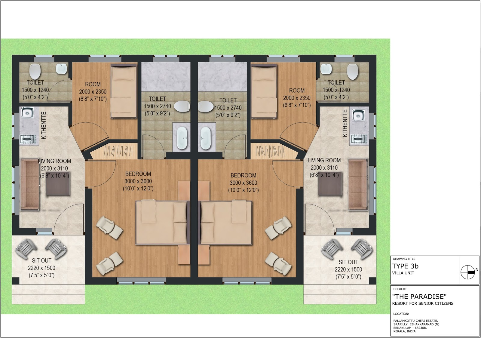 Luxury resort for senior citizens the paradise for Duplex layout plan