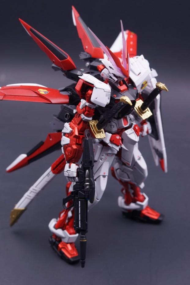 MODEL TITLE: Gundam Astray Red Frame + Flight Unit MODIFICATION TYPE:  Custom Details, Scratch Built Parts, Custom Paint Job