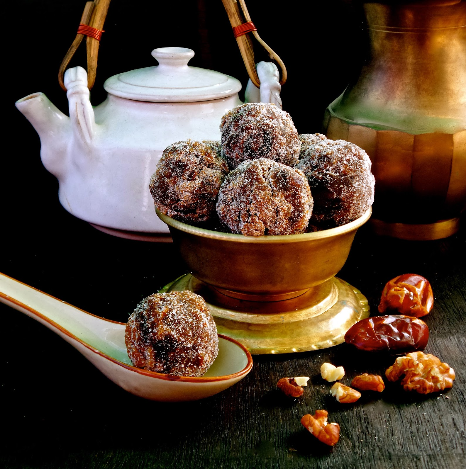Chinese Chews, bake, balls, chinese, chinese chews, cookies, dates, easy, Recipe, vegetarian, vintage, walnuts,