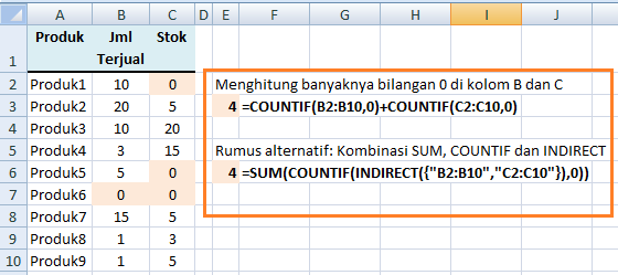 Kombinasi SUM, COUNTIF INDIRECT