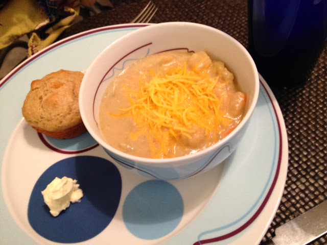 Potato Soup with a Homemade muffin for a perfect supper