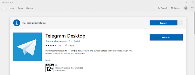 Screenshot of Telegram application on Microsoft Store on Laptop.