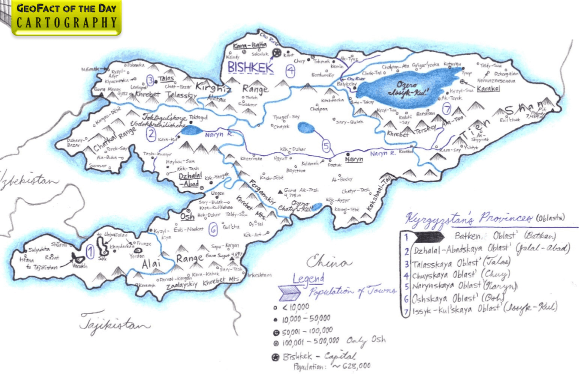 My hand-drawn map of Kyrgyzstan was created on computer printer paper, featuring the mediums of pen and colored pencils