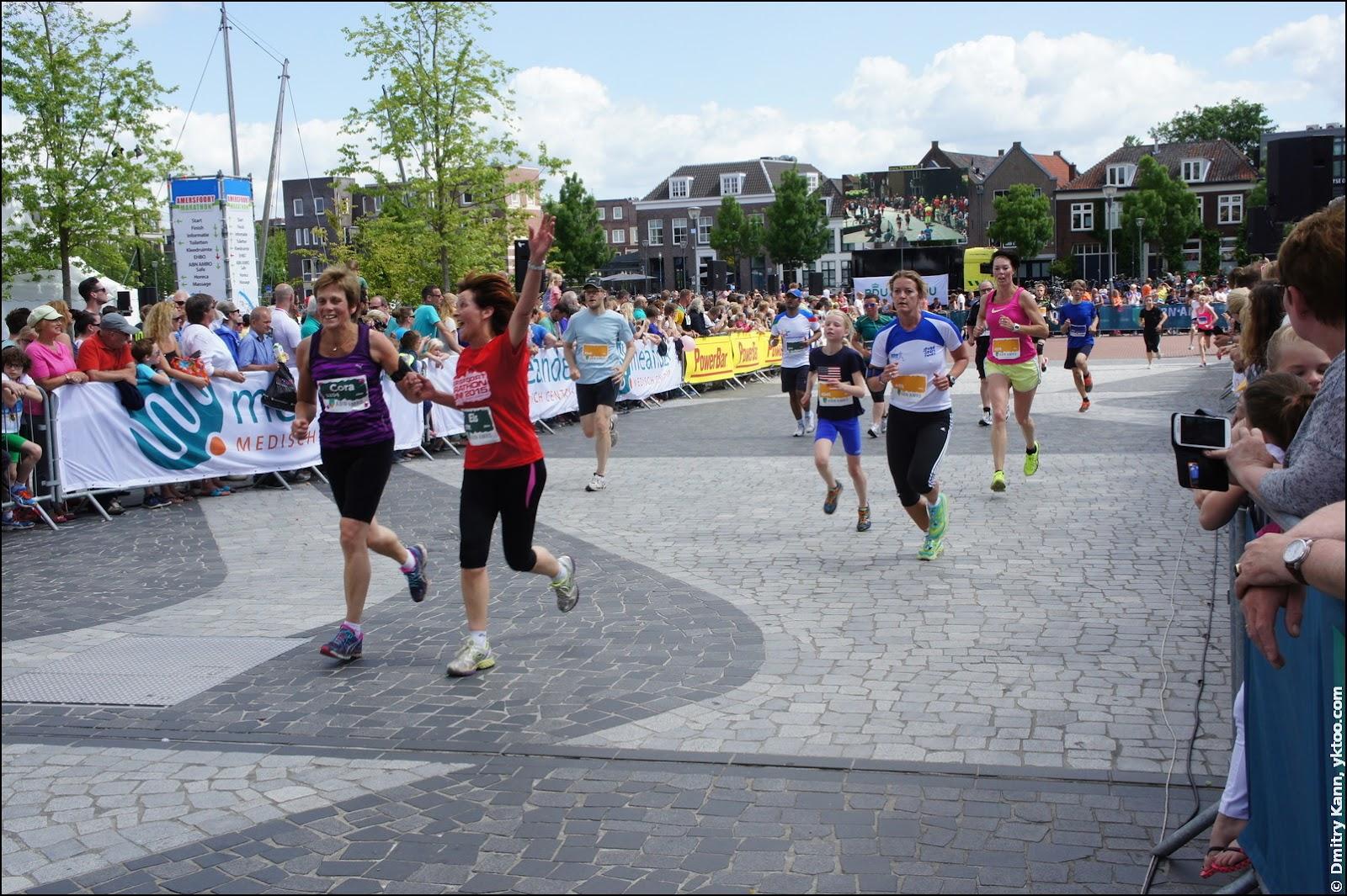 The finish of the marathon and the half marathon.