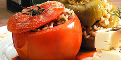 large ripe whole tomatoes or a mix of tomatoes and peppers Tomatoes stuffed with rice and raisins recipe