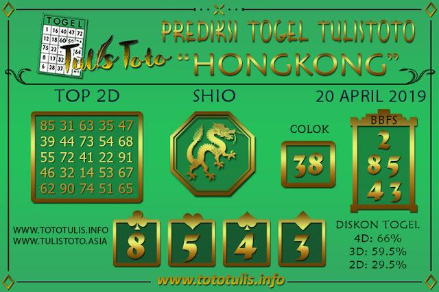 Prediksi Togel HONGKONG TULISTOTO 20 APRIL 2019