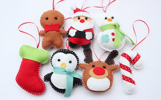 drops of color shop felt christmas ornaments stocking santa gingerbread man