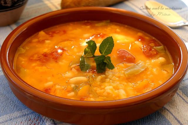 Cuina amb la mestressa potaje de calabaza y alubias con arroz - Potaje de garbanzos y judias ...