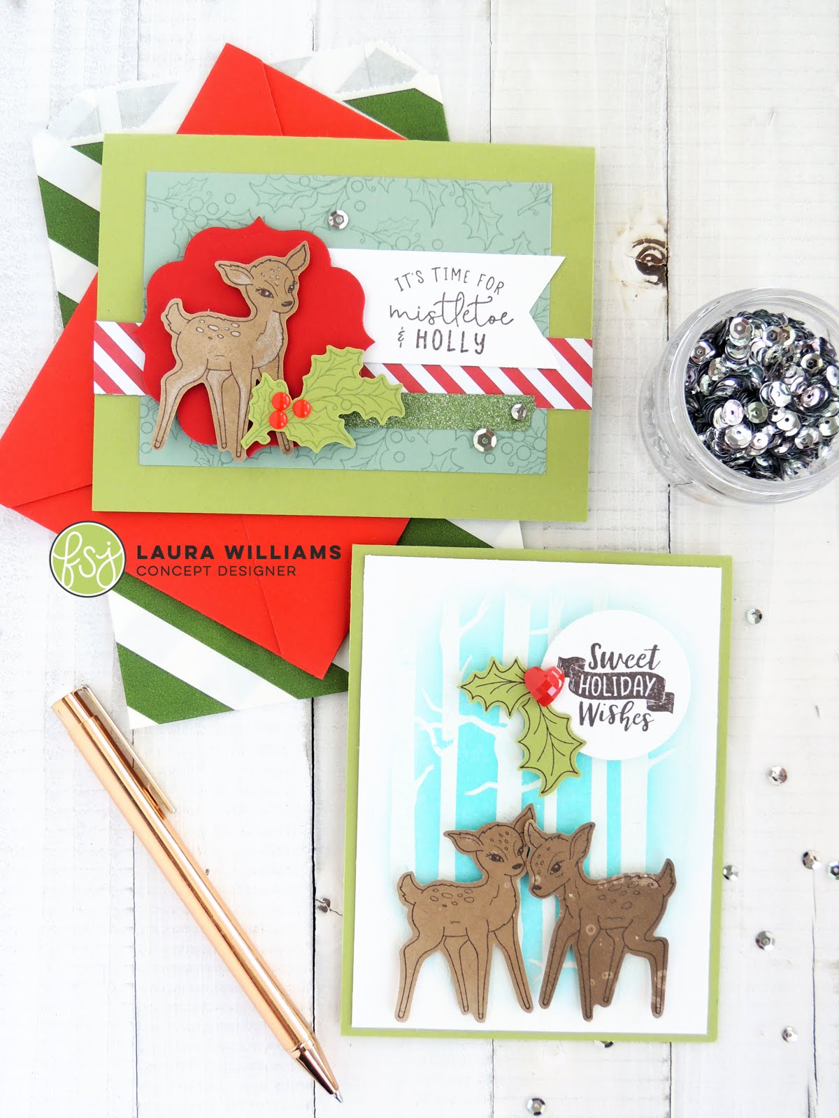 There's a brand new Stamp of the Month set from FSJ, and it will FILL your heart with holiday spirit and joy. It is absolutely darling - so without further ado, please meet Mistletoe and Holly. I'm in LOVE with these sweet deer. This month's stamp set includes the two deer, lots of holly and some sweet sentiments. There's plenty of opportunity to mix and match this set with some of your favorite dies and holiday stamps, and you'll have such fun creating holiday projects. #christmascard
